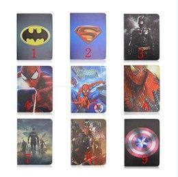 Wholesale Ipad Batman - Superman Batman Hero Spider Man Super Captain America Stand holder Smart Leather case cover For ipad 2 3 4 ipad air ipad air 2 ipad6 mini123