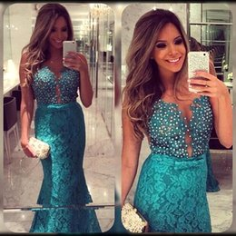 Wholesale Gold Belted Evening Gowns - 2016 New Design Hunter Full Lace Evening Dresses Sexy Sheer Bodice Pearls Bow Belt Sweep Train Arabic Lace Mermaid Prom Gowns BO7987