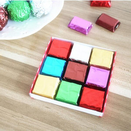 Wholesale Chocolate Foil Paper - 1000pcs lot Foil Candy Package Chocolate Aluminum Candy Food Tin Joyful DIY Baking Foil Package Paper