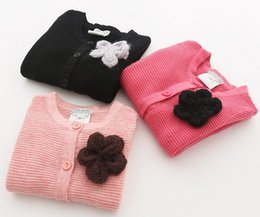 Wholesale Girls Kid Stereo Rose - Stereo Brooch Long Sleeve Striped Knit Woolen Black Pink Rose Red Kid Girls Cardigan Fashion Soft Casual N1685
