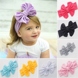 Wholesale big bow hairband - New Baby Girls Bow Headbands Europe Style big wide bowknot hair band 12 colors Children Hair Accessories Kids Headbands Hairband