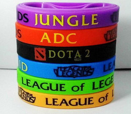 Wholesale Silicone Wristbands Retail - Hot! 2015 Retail LOL GAMES Souvenirs 100% Silicone Wristband LEAGUE of LEGENDS Bracelets with ADC, JUNGLE, MID, SUPPORT, TOP, Printed Band
