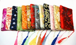Wholesale Thick Zip Bag - Fashion Cotton filled Thick Small Zip Bags for Jewelry Gift Pouches Tassel Silk Brocade Storage Bag Women Cell Phone Purse Wallet 16 x 12