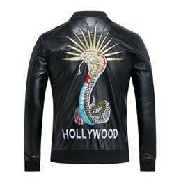Wholesale Fitted Leather Jackets - Fashion Men's Winter Leather Jackets Faux Jacket snake embroidery Stylish Slim Fit Coats Men Moto Skull Suede Jacket For Men ,M-3XL