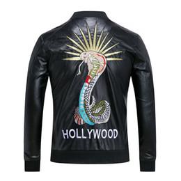 Wholesale Crew Neck Leather Jacket - Fashion Men's Winter Leather Jackets Faux Jacket snake embroidery Stylish Slim Fit Coats Men Moto Skull Suede Jacket For Men ,M-3XL