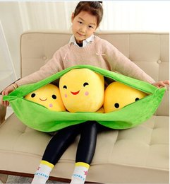 Wholesale Huge Stuffed Toys - Wholesale- huge lovely plush peas pillow stuffed green peas toy gift doll about 90cm