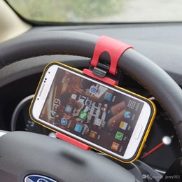 Wholesale S4 Car Holder - Universal Car Steering Wheel Hand-free Mobile Phone Holder for iPhone 4S 5 5S 5C Galaxy S4 S5 GPS MP4 PDA