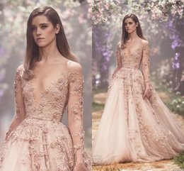 Wholesale Simple Halter Neck Wedding Dress - Champagne 3D Floral Long Sleeve Wedding Dresses 2018 Paolo Sebastian Lace Applique Princess Puffy Skirt Country Garden Wedding Gowns