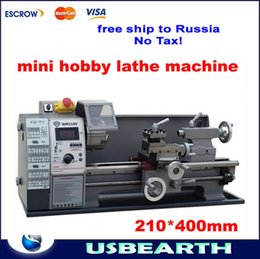 Wholesale Small Lathe Machines - Free shipping to Russia,no Tax!Small household stepless variable speed 600w  210*400mm horizontal mini lathe machine