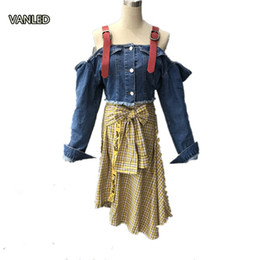 Wholesale Waist Belts Female - Wholesale- 2017 New Fashion Belt Spliced Off Shoulder Denim Jacket Female Tide Short Jacket