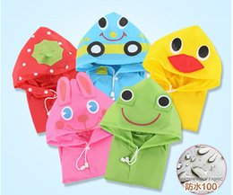 Wholesale Boys Hooded Raincoat - Cute Boys Girls Animal Children Cartoon Rain Coat Baby Raincoat Kids Rainwear