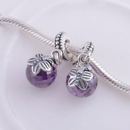 Wholesale Authentic Pandora Purple Charms - Fits Pandora Bracelets Moon & Star butterfly Dangle purple pink Beads with Clear Crystal Authentic 925 Sterling Silver Charms Jewelry Making
