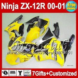Wholesale Zx12 Fairings Kawasaki - 7gifts For KAWASAKI 00-01 NINJA ZX12R Yellow black 2000 2000-2001 ZX12 R 2001 2C397 yellow black ZX 12R ZX-12R ZX 12 R 00 01 Fairing