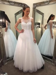 Wholesale Debs Dresses White - Vintage Prom Dresses 2015 A Line White Jewel Lace Top Covered Buttons Back Long Dresses Party Evening Tulle Deb Dresses Custom Made