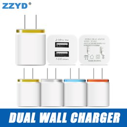 Wholesale Eu Power Plugs - ZZYD For Samsung S8 Note 8 Dual USB Wall Charger 5V 2.1A 1A Metal Travel Adapter US EU plug AC Power Adapter