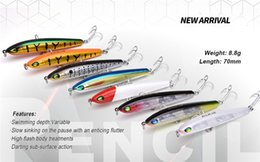 Wholesale Ps Laser - PS Painted Laser Pencil Bionic Fishing bait 8cm 9g Slow Sinking High Flash Body Artificial lure with Lead