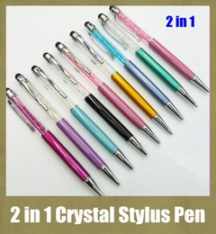 Wholesale Stylus For Writing - writing capacitive pen multi function crystal stylus pen fit for HTC iphone ipad blacberry s5 colorful screen touching pen cheapest STY007