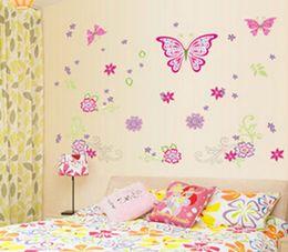 Wholesale Large Paper Flowers Decorative - Large Paper Flowers Decorative Butterfly Wall Stickers Home Decor Poster Flower Decoration TV Floral Wall Decals Art