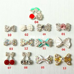 Wholesale Cherry Shiny - 10pcs Multi Style Rhinestones Shiny Bow Cherry Tie DIY 3D Nail Art Decoration Stickers Nail Accessories For DIY Nails Beauty