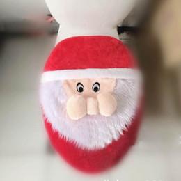 Wholesale Toilet Seat Covers Warmer - Wholesale-Christmas Santa Toilet Seat Cover Cushion Pad Bathroom Warm Santa Claus Toilet lid Cover Xmas Holiday Decor