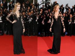 Wholesale Light Black Film - High Quality 2017 Sexy Cara Delevingne Cannes Film Festival Deep V Neck Long Lace Sleeve Sweep Train Carpet Evening Celebrity Dresses