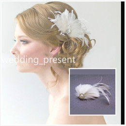 Wholesale Crystal Hair Clip Cheap - 2015 New Feather Crystal Wedding Hair Clips Pearls Bridal Barrettes Handmade Wedding Prom Party Hair Accessories with Faux Pearls Cheap