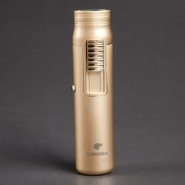 Wholesale Brand Cigars - Wholesale-COHIBA brand metal windproof Men's cigar gas Lighter,Portable gold refillable Butane torch turbine Lighter