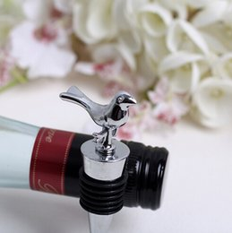 Wholesale Party Favour Baby Bottles - Home Party Favor GIft Boxed Love Birds Wine Bottle Stopper For Christmas Baby baptism Shower Wedding Bomboniere Favours 200 pcs