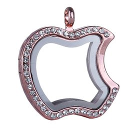 Wholesale Apple Locket - 2015 Apple Shape Crystal Memory Glass Living Floating Charms Locket Pendant necklace With Free Snake Chains