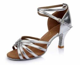 Wholesale White Satin Ballroom Shoes - Fashion style High quality Brand women girls heeled satin ballroom latin dancing shoes ladies 7CM