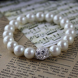 Wholesale Cream Plates - Wholesale Fashion Jewelry Top Selling Fashion Faux cream pearl bracelet with a rhinestone ball For Wedding Or Party
