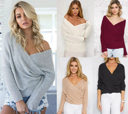 Wholesale Womens Cross Sweater - Wholesale- New Fashion Womens Sweaters Cross V Neck Sexy Autumn Clothes Long Sleeve Casual Pullover Light Solid Color Tops