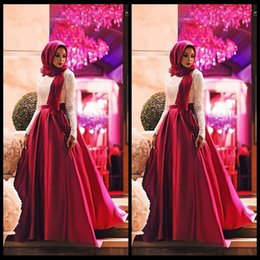 Wholesale Long Dresses For Muslims - 2016 New Arrival Elegant White Lace Red Burgundy A Line Satin Long Sleeves O Neck Muslim Evening Dresses For Party Hijab