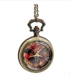 Wholesale Hunger Games Pocket - New Antique alloy Hunger games Quartz watches Steam punk necklace Roman numerals pocket watches