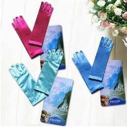 Wholesale Purple Satin Long Gloves - Retail Baby Girls Frozen Elsa Princess Long Gloves Children Satin Gloves For Evening Dress Cosplay Gloves Kid's Costume Accessories