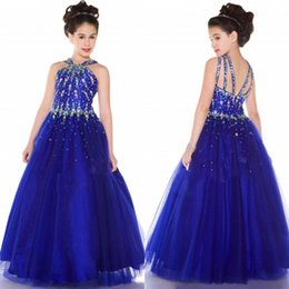 Wholesale Strappy Black Dresses - custom made sparkly royal blue girl`s pageant dresses with Beaded bodice rich layers skirt dress criss-cross strappy back A line formal gown