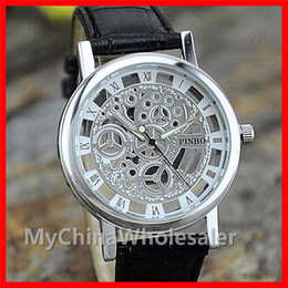 Wholesale Watch Skeleton Woman Wrist - Stainless Watches Metal Wrist Watches for Men and Women Fashion Luxury Silver Quartz Rome Numeral Leather Watch Hollow Skeleton Structure