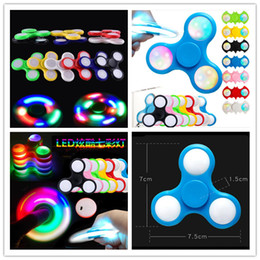 Wholesale Outdoor Games Activities - LED Light Up Avengers Spinner RoHs Metal Tin Box Replaceable Battery Tri-spinner EDC LED Fidget Spinners bat gyro outdoor games activities