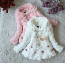 Wholesale Girls Yellow Jacket Coat - Faux Fur Coat wth pearl and lace Junoesque Baby Toddlers Girls Fleece Lined Kids Winter Warm Jacket 3 colors k04
