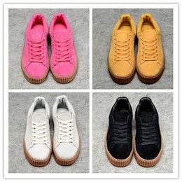 Wholesale White Flat Creepers Shoes - 2017 Rihanna x Suede Creeper Black White Pink Oatmeal Women Men Running Shoes, Fashion Rihanna Shoes Skate Sneakers Size 36-44