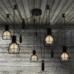 polia luzes pendentes cozinha Desconto Novidade aranha Pulley lustre Lâmpada de cozinha Bar ajustável Retro candelabro iluminação industrial candelabro Sala de Jantar luz pingente do vintage