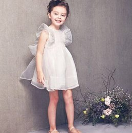 Wholesale Wedding Puff Sleeves Dress - High Quality Girls Dresses Puff Sleeve Silk Princess Dress Sweet Dream Wedding Party Dressy Fairy Girl's Bubble Dress White Pink J4368
