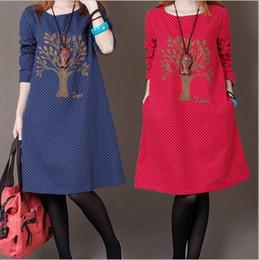 Wholesale Korean Winter Wear Women - 2015 Winter Korean women wear clothes plus size loose long-sleeved dress neck embroidery large size dress winter dress