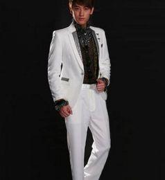 Wholesale Marriage Suits - Wholesale-White black Korean sequin Singers fashion formal dress marriage suits tuxedo blazer mens blazers set man jackets + trousers 2XL