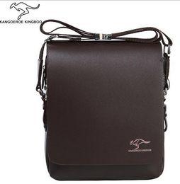 Wholesale Mens Designer Leather Handbags - 100% Genuine leather men message bag 2015 hot fashion brand designer mens handbags bags Black Brown Briefcase Laptop Shoulder Bag 4 size