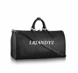 Wholesale Black Leather Duffle - 2017 new fashion men women Embossed travel bag duffle bag, best quality brand designer luggage handbags large capacity sport bag 45CM