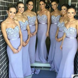 Wholesale Hand Images Photos - 2017 Cheap Real Photos Lavender Bridesmaid Dresses Charming Appliques Strapless Sexy Backless Prom Gowns Mermaid Slim Girls' Party Dress