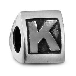 Wholesale Alphabet Beads K - Scroll Alphabet K 011 100% 925 Sterling Silver Beads Fit Pandora Charms Bracelet Authentic DIY Fashion Jewelry
