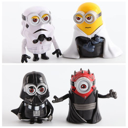 Wholesale Cosplay Minions - 9cm Despicable Me Minion Cos SW Darth Maul Darth Vader Stormtrooper Luke Skywalker PVC Action Figures Toys Dolls Cosplay Gift