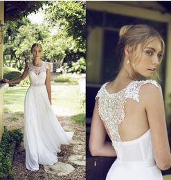 Wholesale Discount Lace Wedding Dresses - New vintage wedding dress cheap discount lace beads sheer straps jewel T back A line chiffon bridal gowns